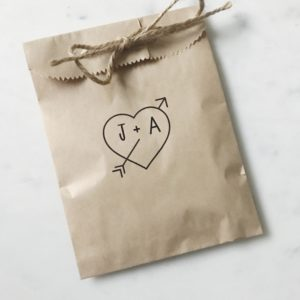 Arrow Heart Wedding Favor Bags