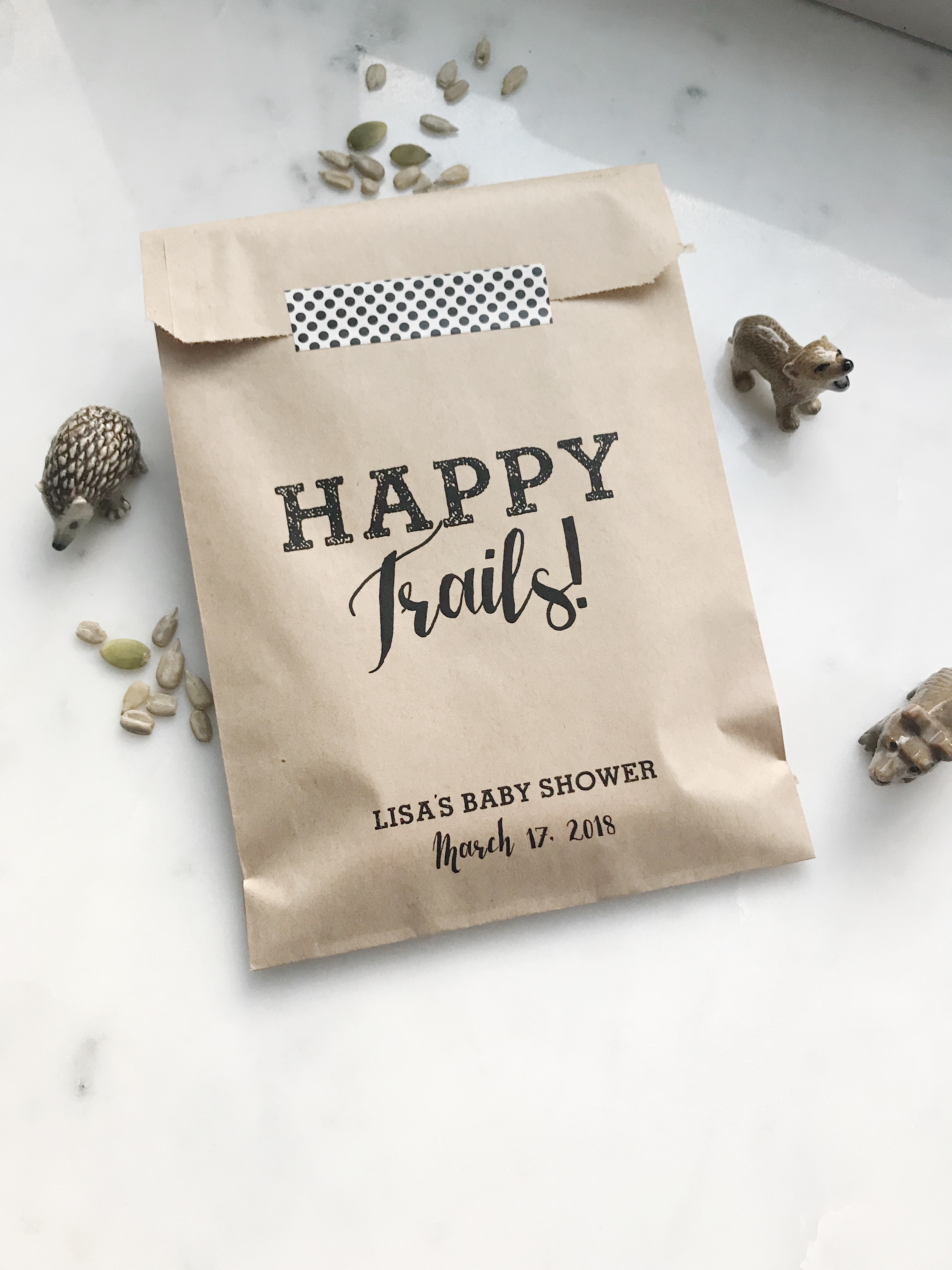 Happy Trails Wedding Trail Mix Favor Bags - SALTED Design Studio