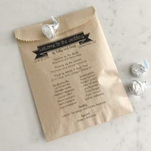 Bold Banner Wedding Program Bags