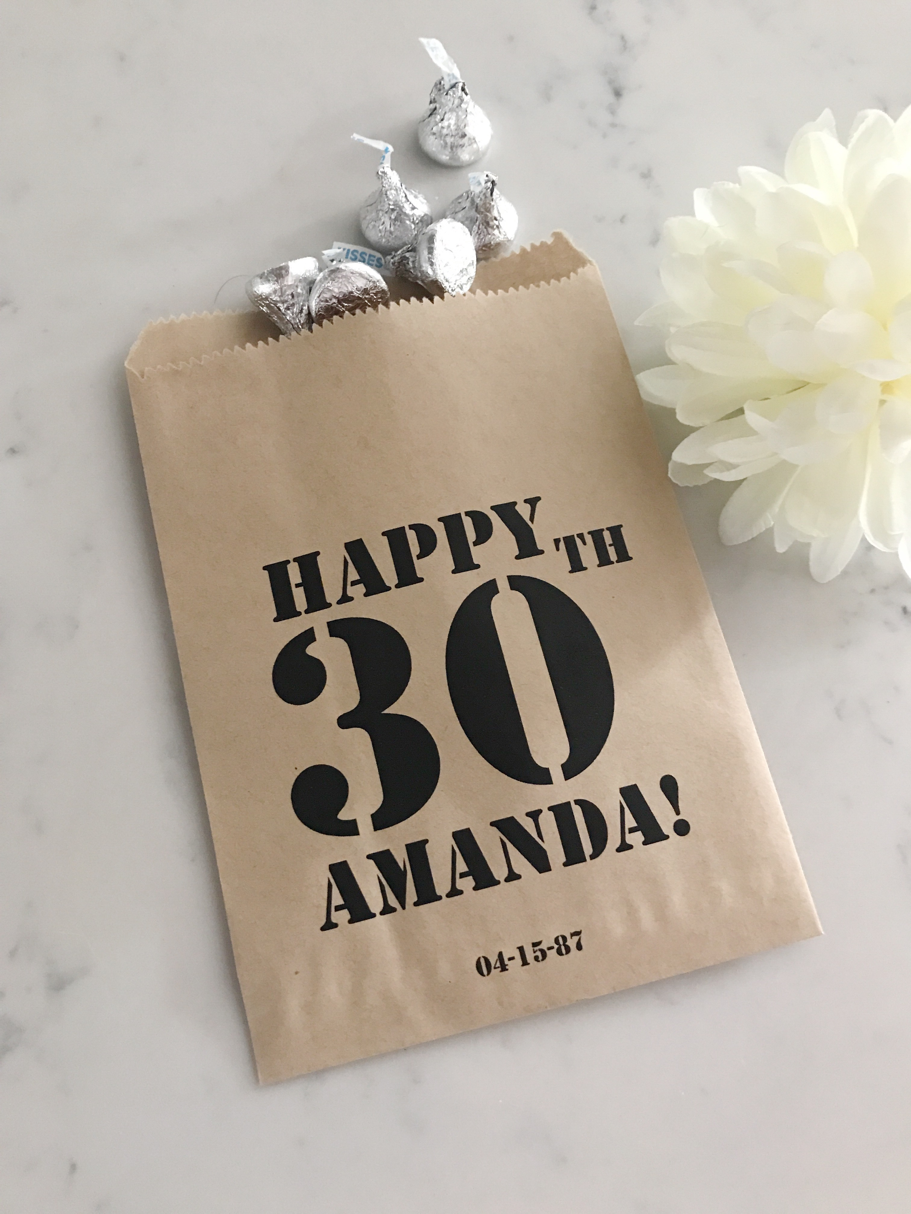 happy 30th birthday  surprise party favor bags