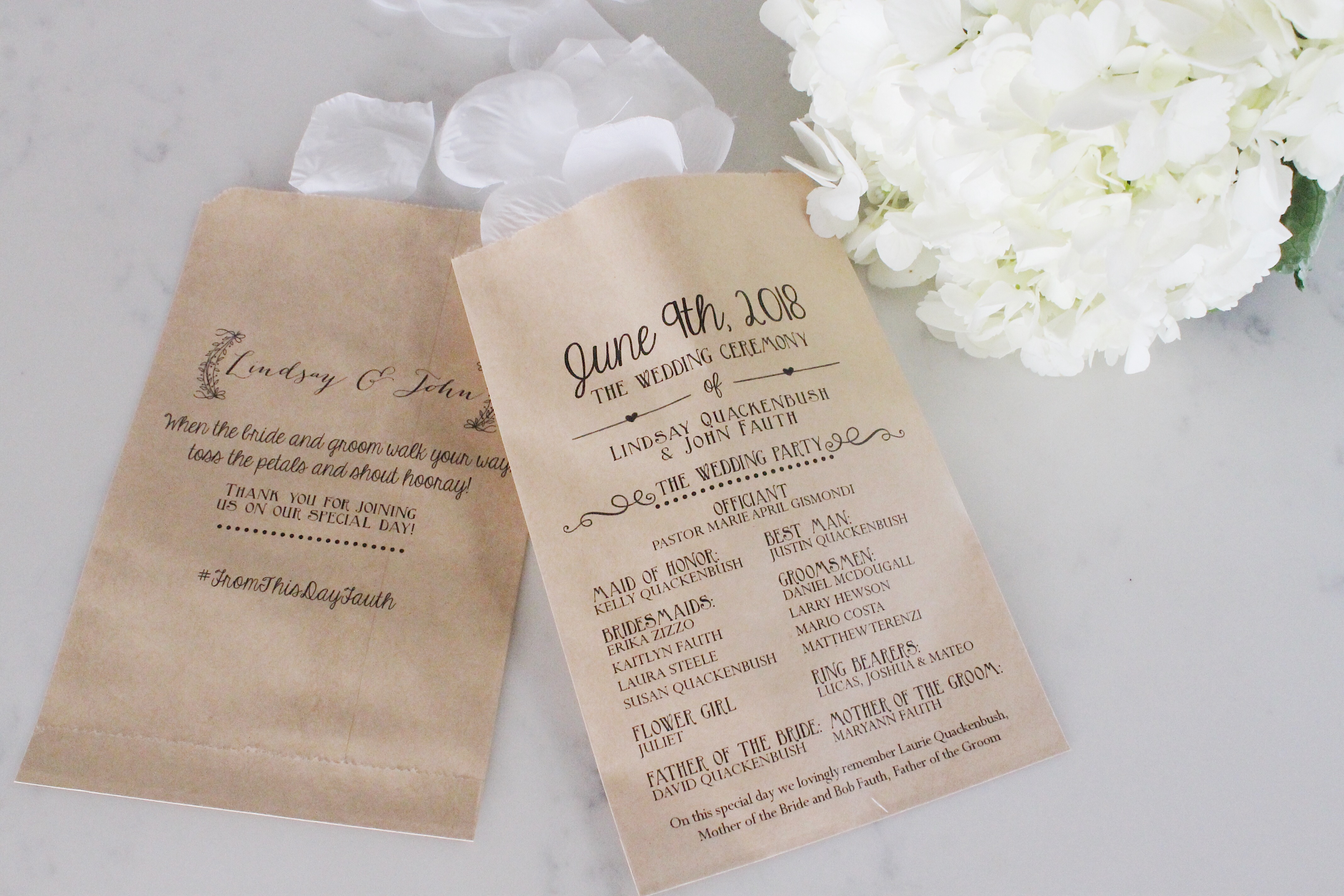 Announcement Wedding Program Bags - SALTED Design Studio