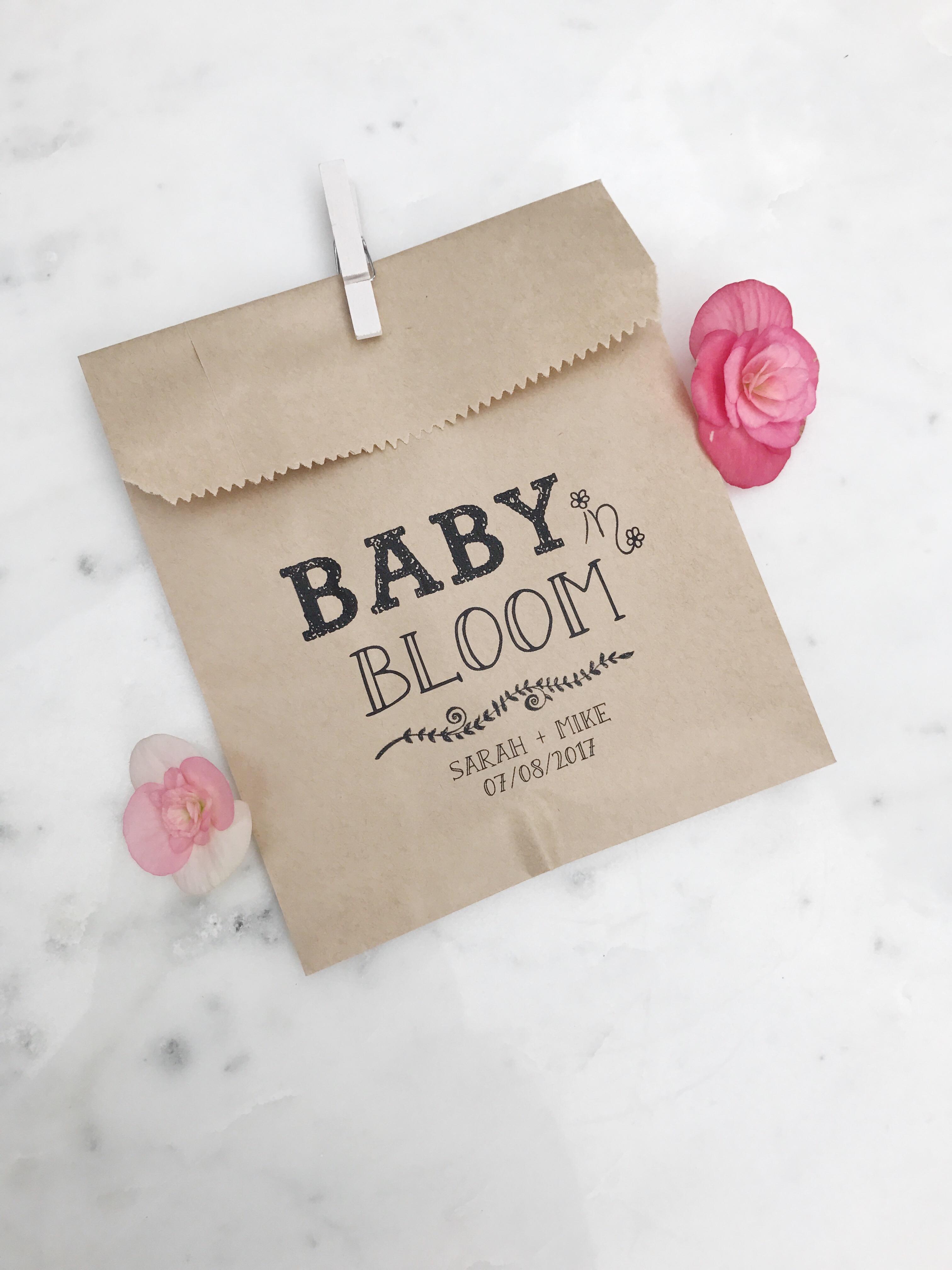 Baby In Bloom Baby Shower Favor Bags Salted Design Studio