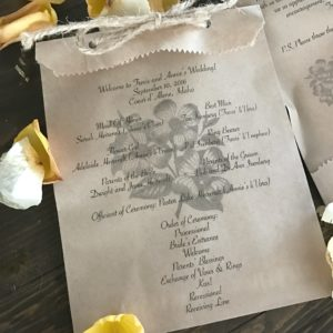 Backyard Wedding Program Bags