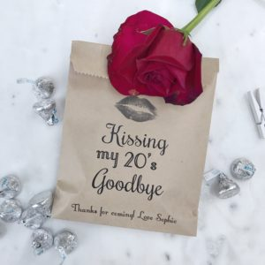Kissing my 30's Goodbye Birthday Favor Bags