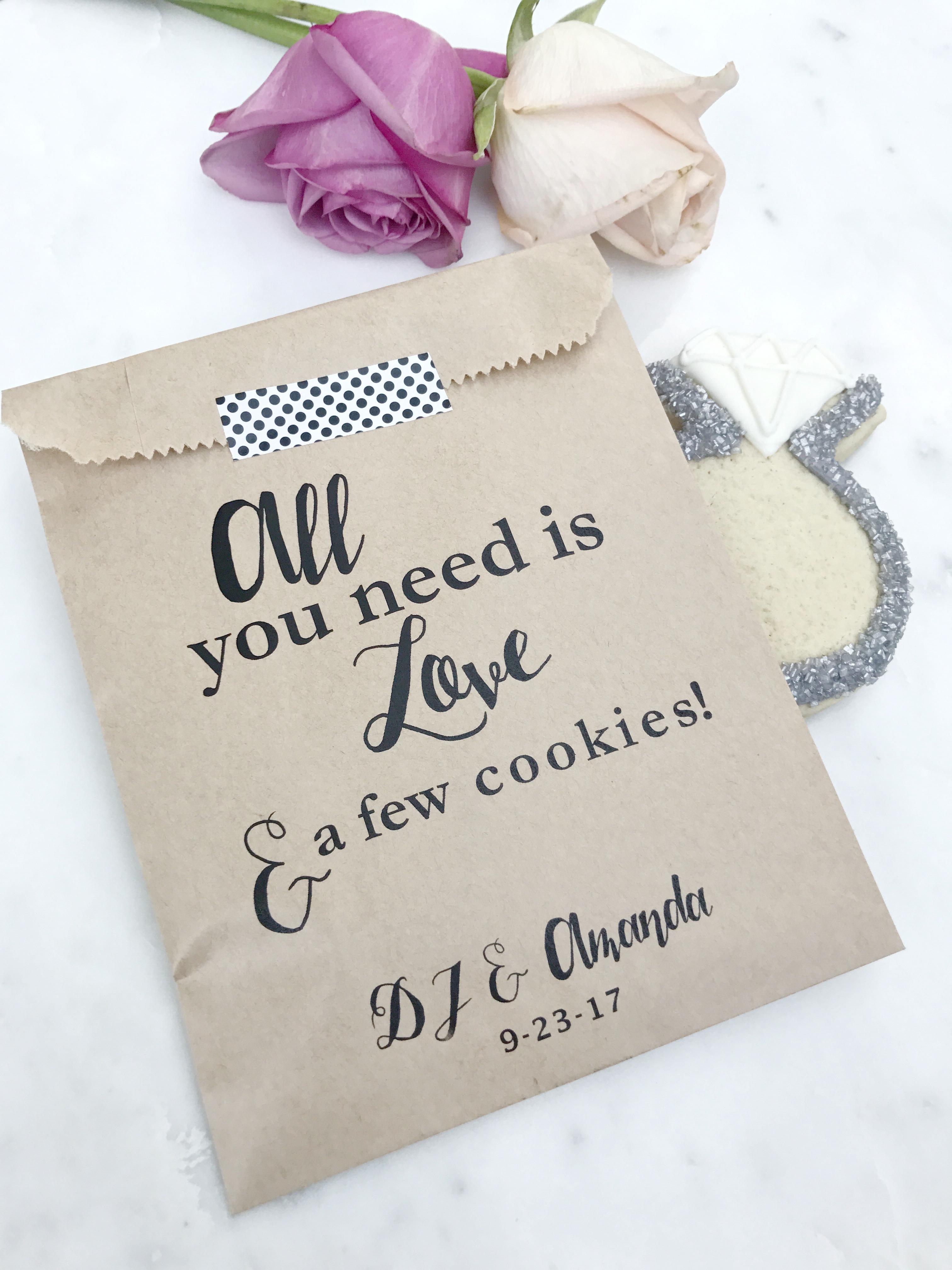 Love Cookies Wedding Favor Bags Salted Design Studio