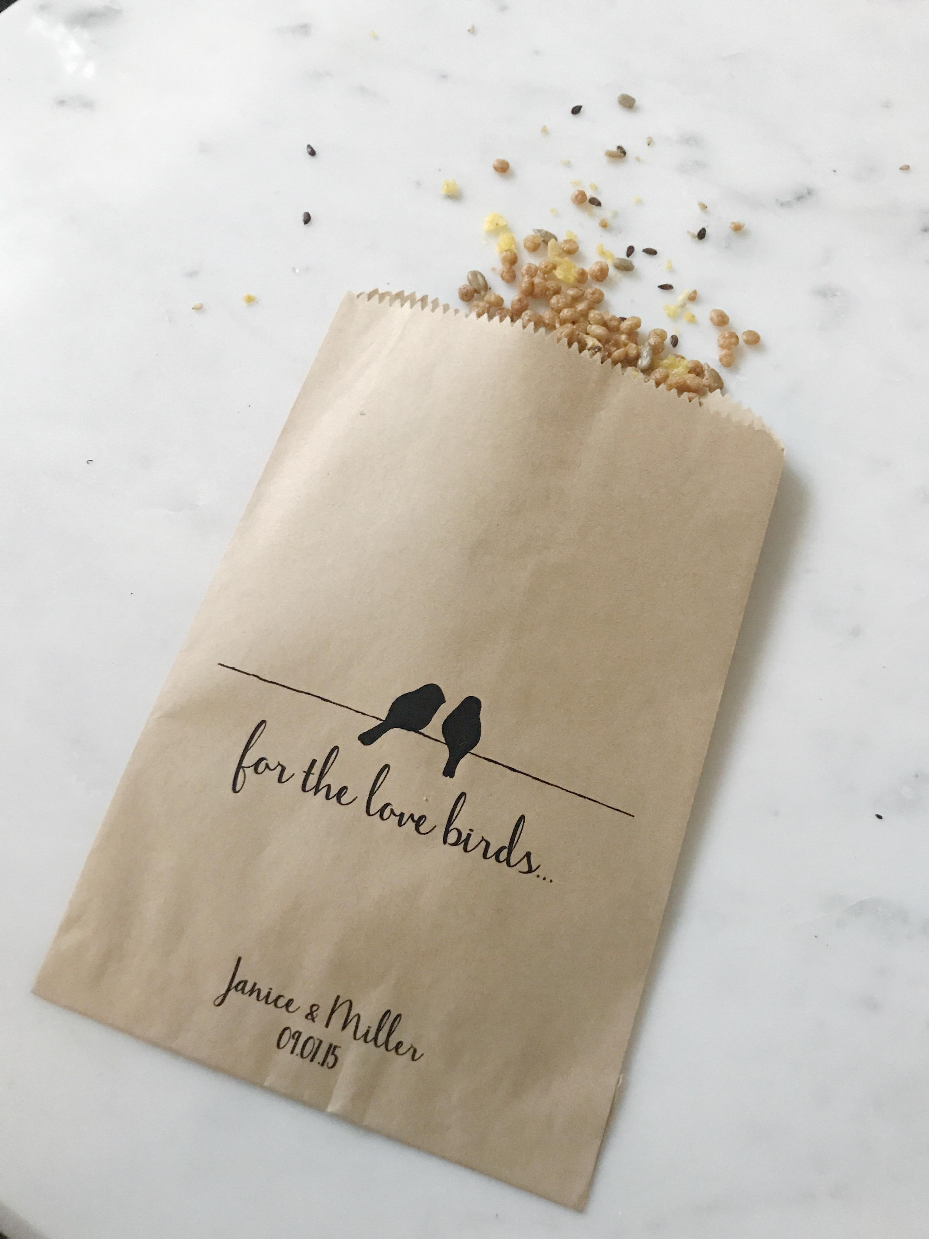 Love Birds Wedding Favor Bags - SALTED Design Studio