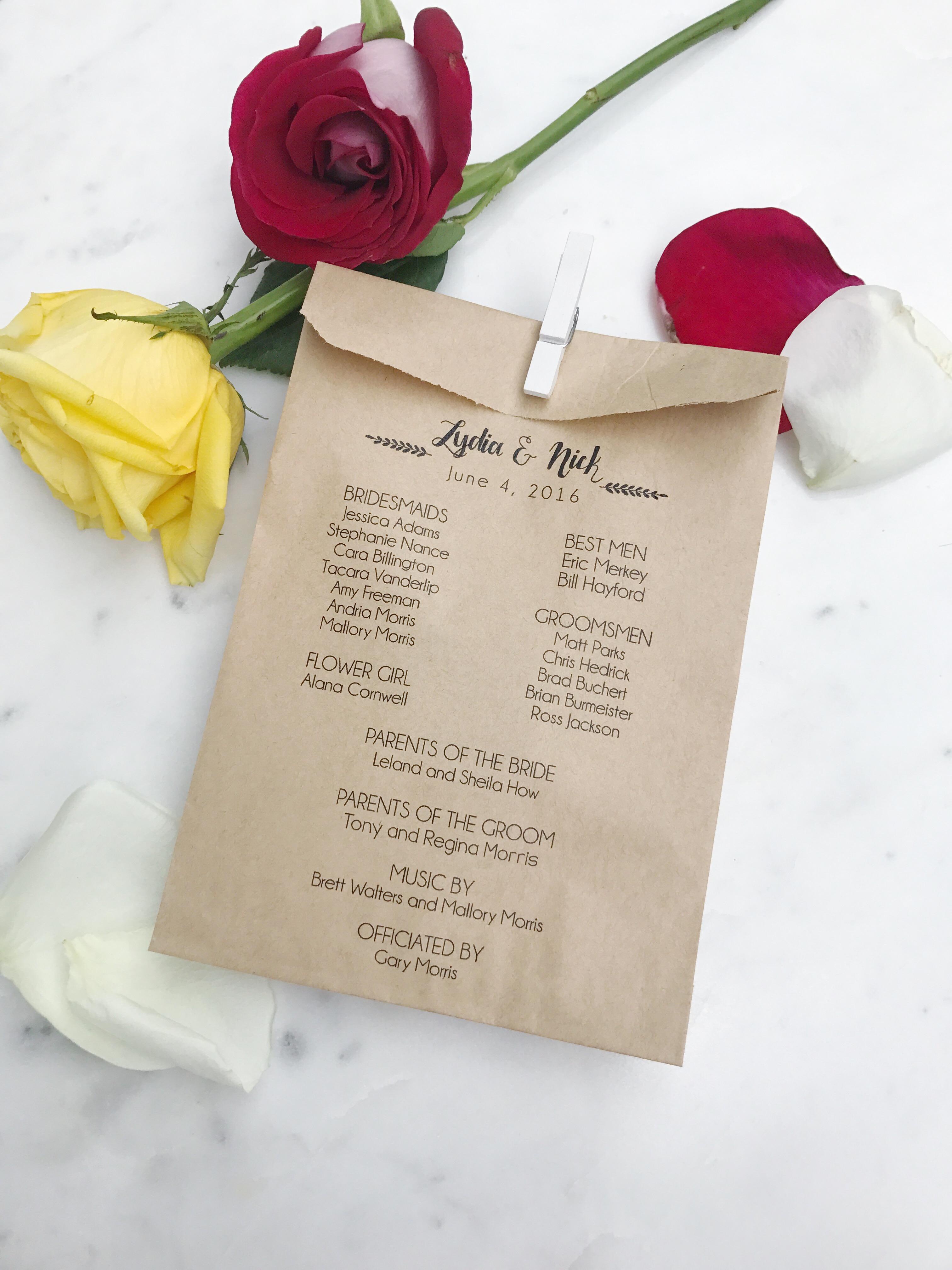 Modern Wedding Program Bag