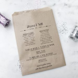 Sweet Hearts Wedding Program Bag