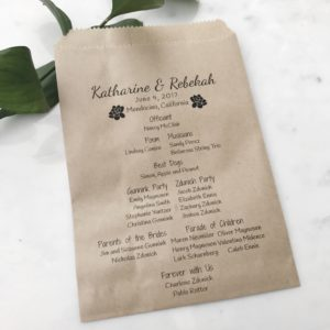 Succulent Wedding Program Bag
